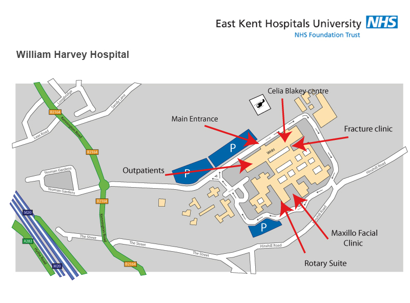 William Harvey Hospital Outpatients map