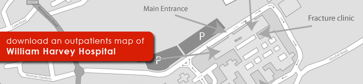 Download a map of the Outpatients Department at William Harvey Hospital, Ashford.
