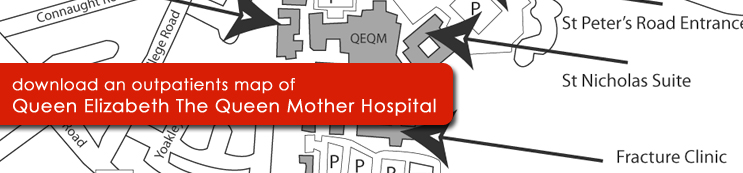 Outpatients Map of Queen Elizabeth The Queen Mother Hospital, Margate