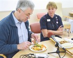 Radio journalist Graham Cooke reports for BBC Radio Kent, talking with Matron for Nutrition and Quality Improvement Wendy-Ling Relph.