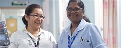 Smiling staff in Outpatients at William Harvey Hospital
