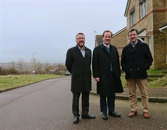 Charlie Elphicke, Henry Quinn and Philip Brighton at Dementia Centre of Excellence site