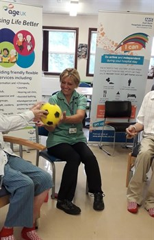Passing the ball during one of the exercise sessions with Age UK