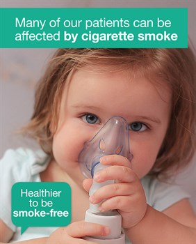 Child with oxygen mask promoting smoke free