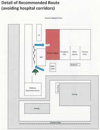Map to show location of the Breast Screening Service at Kent and Canterbury Hospital. Access from the outside behind the childrens assessment centre on the side closest to the minor injuries unit.