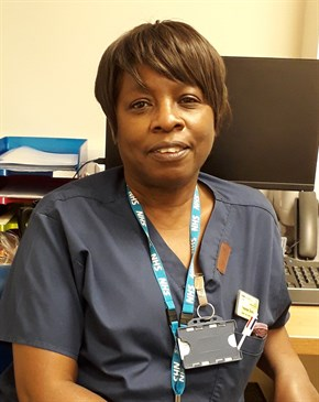 Head and shoulders of Yvonne Davis, a nurse at William Harvey Hospital who is living with lupus